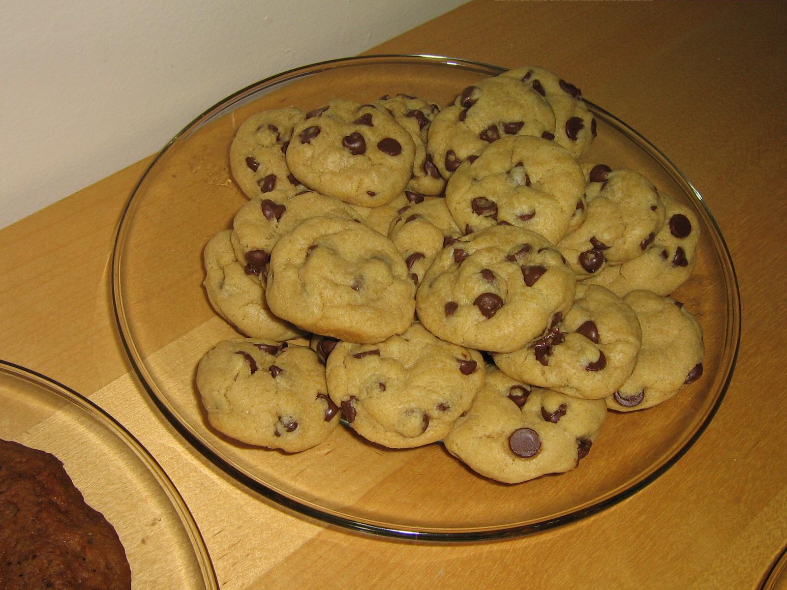 Two dozen fresh baked vegan chocolate chip cookies. Another 13 cookies ...